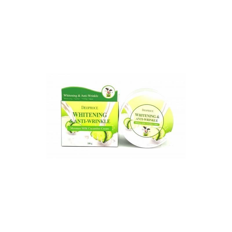 Крем Deoproce Whitening & Anti-Wrinkle Moisture Milk Cucumber Cream